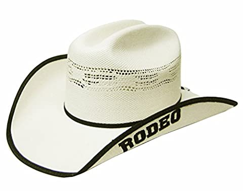 Modestone Traditional Straw Chapeaux Cowboy Embroidered Rodeo on Brim Off-White