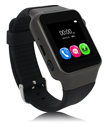 VIDIMENSIO Smartwatch 'Quick Ray - schwarz' / Handy Uhr / Fitness Uhr / Wrist Watch, 1.54' Touch Screen, GSM SIM Karte, 1.3M Kamera, BT 3.0, inkl. Ladegerät und Kopfhörer, deutsches Menü, deutsche Bedienungsanleitung, deutscher Support / mehrsprachig / Multi Language, kompatibel mit allen iPhone / Android Smartphones
