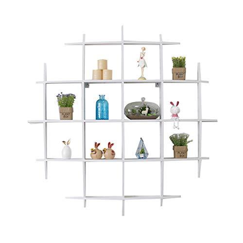 CYLQ Nun, Kreuzen Sie Den Typ Schwebende Regale, Wandmontage Aus Holz Displayablage, Dekoration Wohnzimmer Schlafzimmer Multi Grid Regal Weiß, 2 Größen (Farbe : Weiß, größe : 100 * 100vm)
