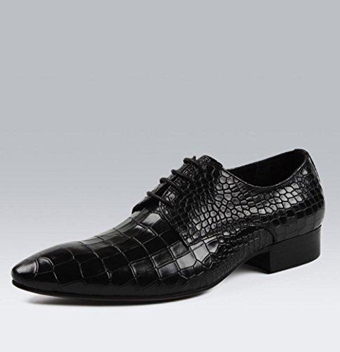 WZW Herren casual atmungsaktivem Echtleder wies Leder Schnür Schuhe Black
