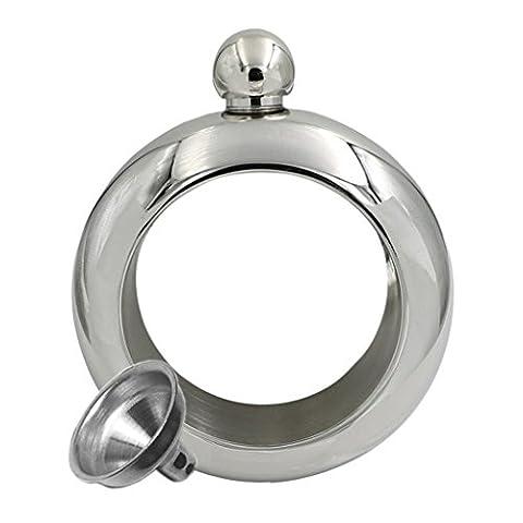 Hmilydyk Bracelet Thermos en acier inoxydable 304de qualité Miroir Flasque et entonnoir Lot de 99,2gram Silver