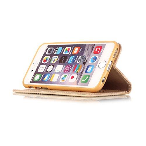Hülle für iPhone 6S Plus, Tasche für iPhone 6 Plus, Case Cover für iPhone 6 Plus, ISAKEN Blume Schmetterling Muster Folio PU Leder Flip Cover Brieftasche Geldbörse Wallet Case Ledertasche Handyhülle T Lotus Blumen Gold
