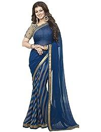 Pramukh Saris Women's Georgette Saree (P Blue Line_Blue-Beige)