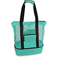 Aruba Mesh Beach Tote Bag, Multi-function Picnic Beach Bag With Zipper Top And Insulated Picnic Cooler Bag For Travel Swimming Camping