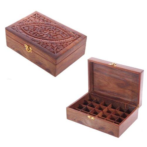 Sheesham Holzbox für 24 Duftöle oder ätherische Öle