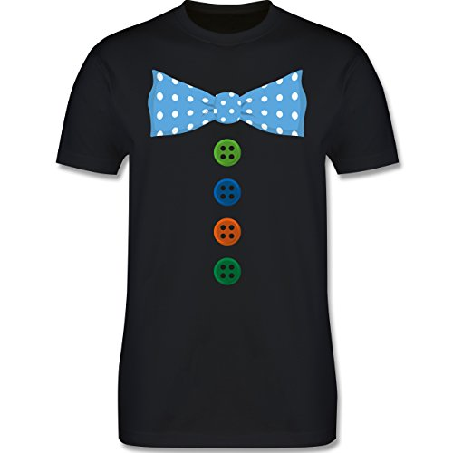 Karneval & Fasching - Clown Kostüm Blaue Fliege - Herren Premium T-Shirt Schwarz