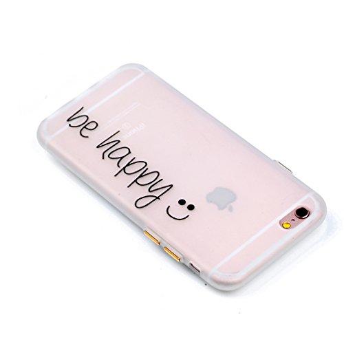 Custodia iPhone 6/6S AllDo Custodia in Silicone Luminoso Bagliore nel Buio Cover di Gomma Trasparente Custodia Liscio Leggero Case Disegno di Modello Stampato Custodia Morbida Flessibile con Bottoni L Siate Felici