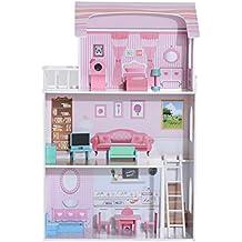 Casa de Muñecas con Muebles Mobiliario Casita Muñeca Jueguete Madera Color Rosa