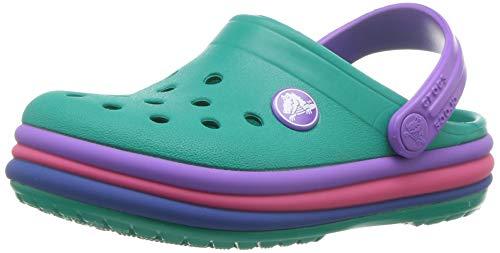 crocs - Kinder Crocband Rainbow Band Clogs, 18-19, Tropical Teal