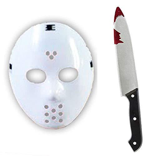 B-Creative Jason 2 Stück Maske und Horror-Fake-Messer-Kit für Halloween-Chop-Shop-Kostüm (Maske und Messer)