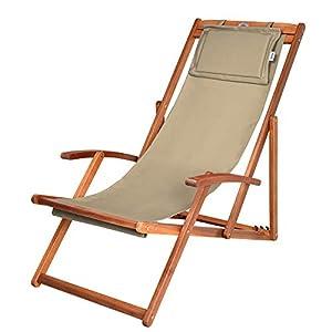 Deuba Sedia a sdraio in legno per spiaggia pieghevole traspirante poggiatesta prendisole giardino esteno piscina terrazza
