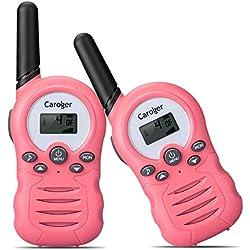 Caroger Talkie Walkie Enfant 8 Chaînes Paire PMR446MHZ Rido Bidirectionnelle jusqu'à 3000 mètres / 3 milesTwo Way Radio Interphone Jouet pour Enfant Rose