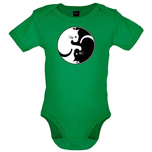 Dressdown Yin Yang Katze - Lustiger Baby-Body - Leuchtend Grün - 0 bis 3 Monate