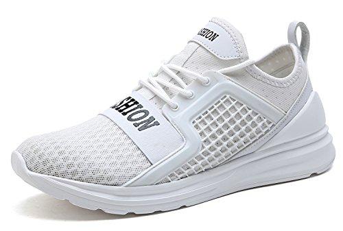 VITIKE Ashion Herren Ausbildung Schuhe Mesh Atmungsaktiv Turnschuhe Fitness Leicht Sport Laufen Schuhe(EU40-Weiß)