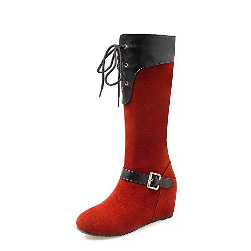 AllhqFashion Damen Weiches Material Rund Zehe Gemischte Farbe Stiefel mit Schnalle, Schwarz, 42