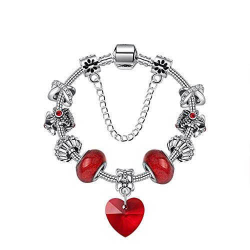Zuiaidess Armbänder Für Damen,Rot Romantisch Liebe Anhänger DIY Red Crystal Beads Blumen Perlen Schmuck Mode Persönlichkeit Armband Für Mädchen Dame Vielseitig Armbänder, 20 cm