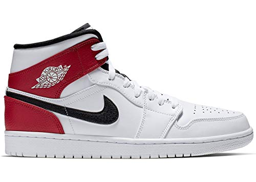 Nike Herren AIR Jordan 1 MID Hohe Sneaker, Mehrfarbig (White/Black-Gym Red 116), 44 EU
