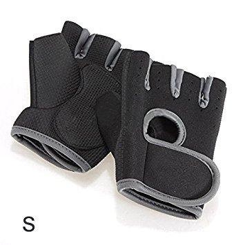 TOOGOO(R) neue Sportart Radfahren Fitness Gym halbe Finger-Handschuhe Gewichtheben uebung Training - Schwarz mit grauen Rand S