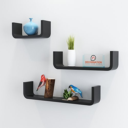 DecorNation MDF Floating Wall Shelf - Set of 3 U Shape Round Corner MDF Wall Racks - Black