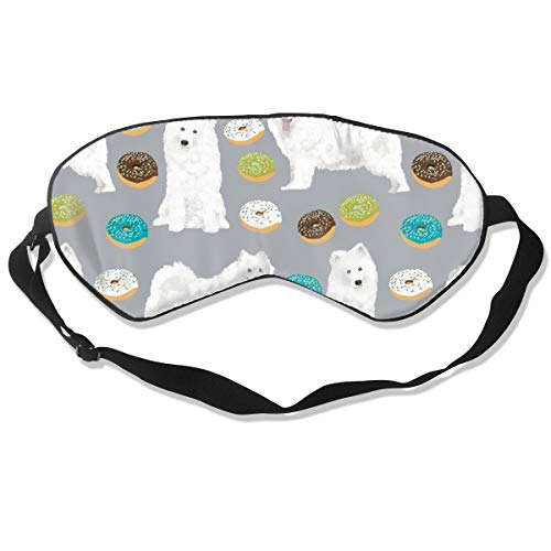 Samoyed Donuts And Chocolate Donuts Dog Design Sam Breathable Pure Silk Sleep Eye Mask Best Sleeping Eye Cover for Travel, Nap, Blindfold with Adjustable Strap for Men, Women or Kids -