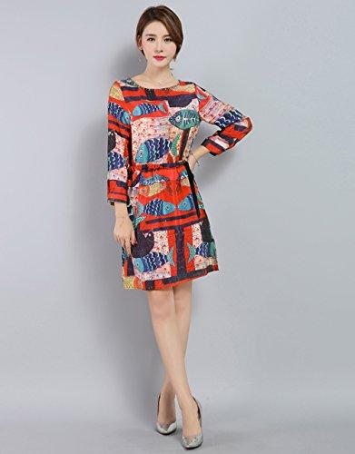 LAI MENG Vintage Damen Rundhals Fischmuster Skater-Kleid 3/4 Ärmel A-Linie Kleider Rockabilly Swing Midikleid Rot