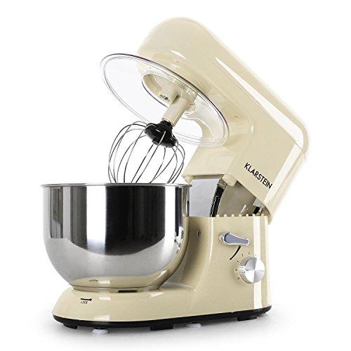 Klarstein Bella Morena Robot da cucina (1200 Watt, recipiente acciaio inox 5,2l, 6 velocità) - color panna