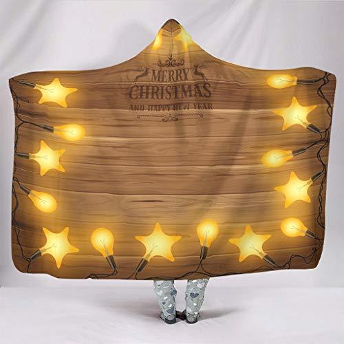 O4EC2-8 Fledermausdecke Stars Weihnachten Thema Drucken Fleece Büro Tragen Decke Kapuze - Beleuchtung Übergröße für Frauen Verwenden White 150x200cm