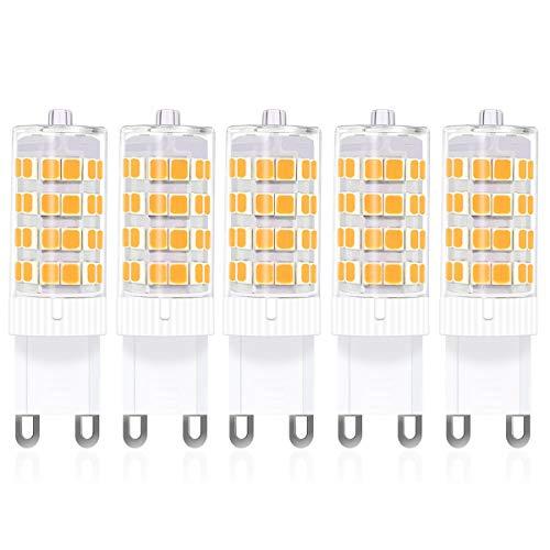 SanGlory 5 Stück 5W G9 LED Lampen, 52 X 2835SMD LED, 480LM, Ersatz für 50W Halogenlampen, Nicht Dimmbar,Kein Flackern, AC100-240V, Warmweiß,360° Abstrahlwinkel G9 LED Birnen (5er Pack)