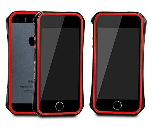 Aero 5 Alliage pare-chocs Téléphone portable étui cas pour Apple iPhone 5 / 5S - Nouveau Design de 2016 - Noir & Bleu Noir & Rouge