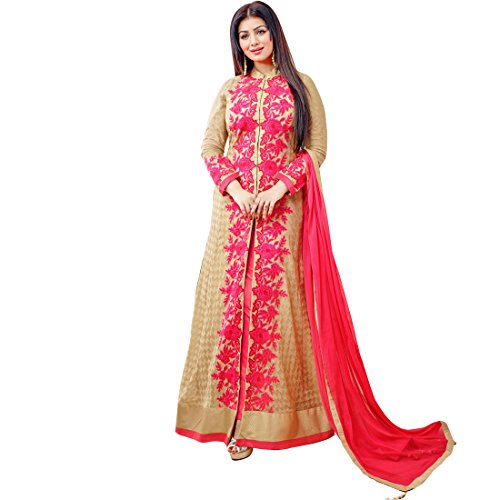 Impressed Collection Modish Ayesha Takia Beige Color Designer Georgette Salwar Kameez With...