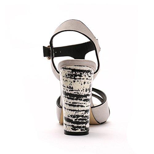 Alexis Leroy Schnalle Damen T-Spangen Riemchensandalen Sandalen mit Keilabsatz Weiß