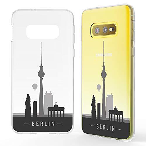 NALIA Hülle kompatibel mit Samsung Galaxy S10e, Motiv Handyhülle Slim Silikon Case Cover Schutzhülle Dünn Durchsichtig, Etui Handy-Tasche Backcover Transparent Bumper, Designs:Berlin Skyline