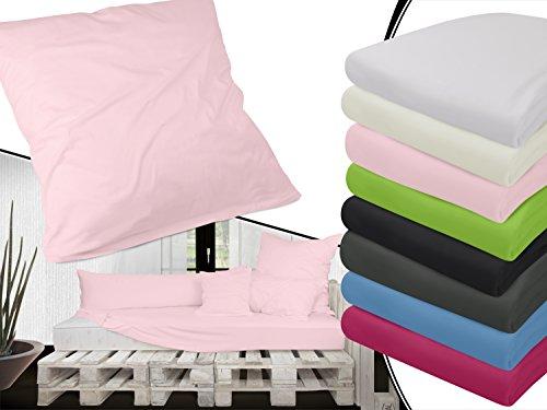 kardierter Jersey aus 100% gekämmter Baumwolle - Spannbetttuch oder Kissenhüllen in exklusiver Qualität - in 5 verschiedenen Größen und jeweils in 8 ausgesuchten Farben erhältlich, Kissenhülle 80 x 80 cm, rosa