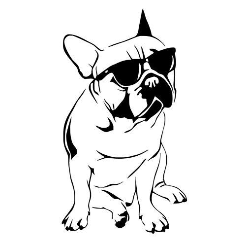 Wandaufkleber Dekoration Hübsche Französische Bulldogge Mit SonnenbrilleFür Jungen Schlafzimmer Vinyl Tier Wandtattoo KinderEine58 * 104 Cm