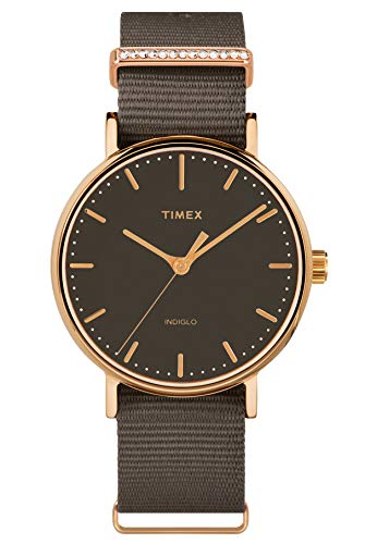 Timex Damen Analog Armbanduhr Fairfield Crystal mit Nylon Armband