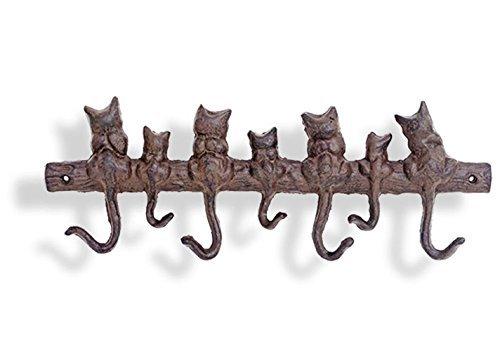 Garderobe 7er Hakenleiste Katzen Katze Metall Gusseisen Kleiderhaken von Haus der Herzen ®