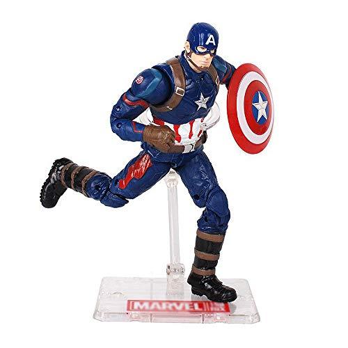 Xiao Jian- Marvel Avengers 18,5 cm Iron Man Captain America Handpuppe kann mit Klammern zum Spielen bewegt Werden Spielzeugmodell (Farbe : B)