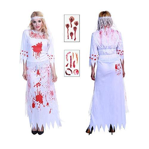 WIGYCM Frauen Halloween Kostüm Kleider Ghost Blutige Zombie Braut Mädchen Outfit Kostüm mit Schleier White Phantom für Hochzeit