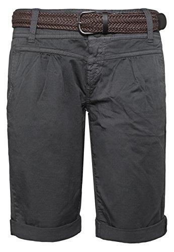 Fresh Made Sommer-Hose Bermuda-Shorts für Frauen | kurze Chino-Hose mit Flecht-Gürtel | Basic Shorts aus Baum-Wolle dark-grey L (Von Bermuda-shorts Tragen Das)