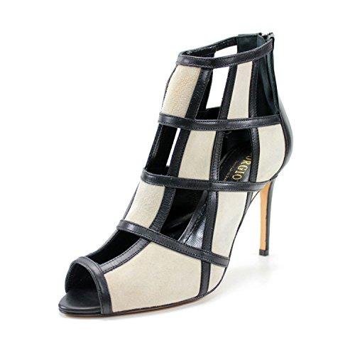 GIORGIO REA damen wunderbar Knöchel gefedert handgemachte italienische Stilettferse hohe Qualität aus echtem Leder italienischen hohe Art und Weise eleganter Zeremonie Partei (41, Schwarz & beige) (Echtes Leder Italienische Schuhe)