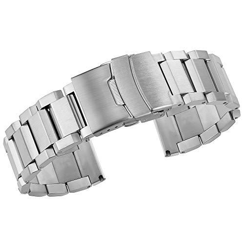 Luxus aus massivem Edelstahl Uhr band18mm / 20mm / 22mm / 24mm gebürstet für Mann Finish Uhrenarmband Gurt und Frauen, Silber 24mm