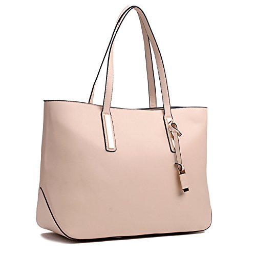 Miss Lulu Women's Faux Leather Tote Bag, Beige