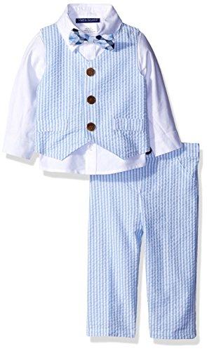 Matt's Scooter Baby Jungen Seersucker Suit Anzug Weste Hemd Hose Fliege (12 Monate) -