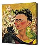 Frida Kahlo - Self Portrait With Monkey And Parrot - Art Leinwandbild - Kunstdrucke - Gemälde Wandbilder