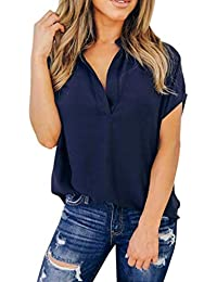 Camicia Casual da Donna in Maniche Corte A Chiffon Mode di Marca con Scollo  A V 0cdbc2aa5d01