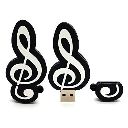 Pendrive disco u usb flash drive chiavette usb2.0  pvc cartone animato portatile velocità di stoccaggio sicurezza pianoforte violino flash drive musicale (64gb,note)