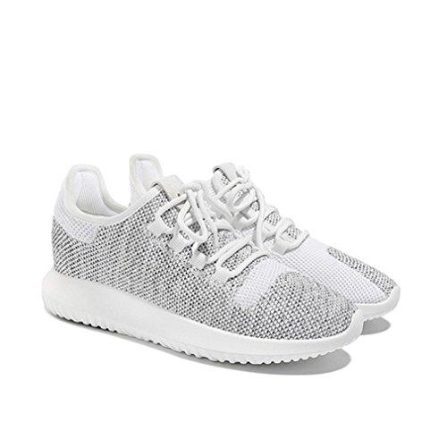 Damen Sneaker Stricken Mosaik-Farben Atmungsaktiv Elastisch Leicht Weich Bequem Sportlich Schick Freizeit Turnschuhe Weiß