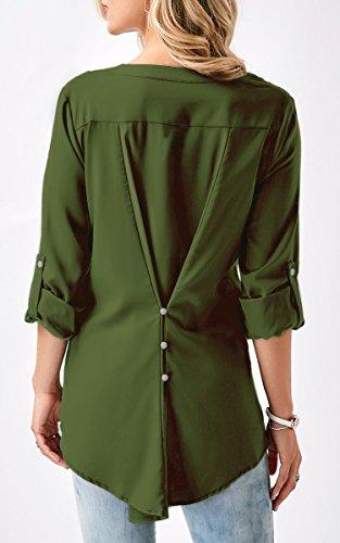 ECOWISH V Ausschnitt Damen Top Spitzen Oberteil Casual Tunika Langarm Shirt Bluse Grün