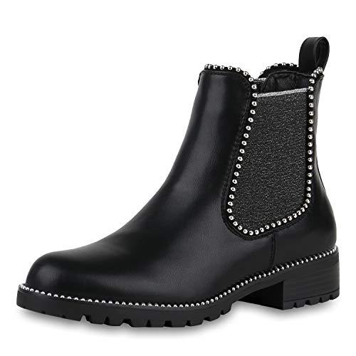 SCARPE VITA Damen Stiefeletten Chelsea Boots Leder-Optik Schuhe Glitzer Booties Kurzschaft-Stiefel Ketten 175663 Schwarz 39 (Stiefel Glitzer Schwarze)