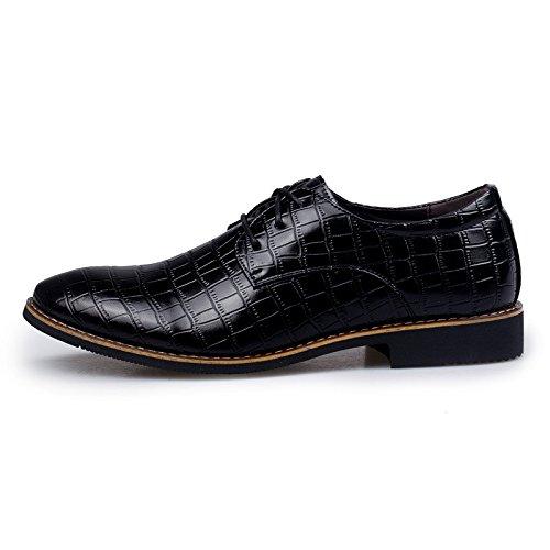 Men's Brown Genuine Leather Oxfords Shoes 8633 2 black
